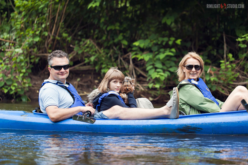 Family kayaking Poland