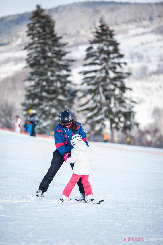 Nauka jazdy na nartach na Łysej Górze