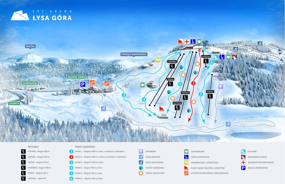 Mapa tras zjazdowych na Łysej Górze