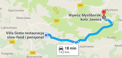 Wąwóz Myśliborski dojazd