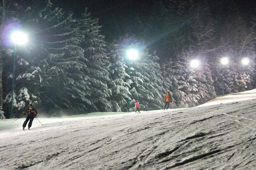 Night skiing mountains Poland